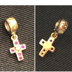 Authentic Pandora 14K Gold, Pink Sapphire Cross